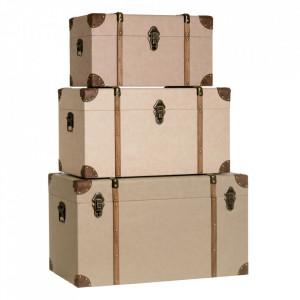 Set 2 cutii cu capac bej din MDF si piele Visar Ixia