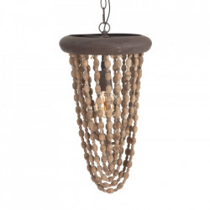 Lustra maro din lemn si metal Beads Ixia