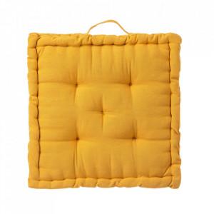Perna patrata galbena din poliester si bumbac pentru sezut 45x45 cm Loving Colours Unimasa