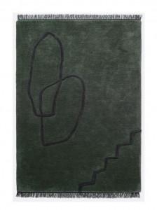 Covor verde din lana 140x200 cm Desert Tufted Ferm Living