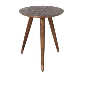 Masa rotunda pentru cafea lemn si cupru Bast Dutchbone