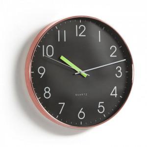 Ceas de perete rotund negru si cupru 40 cm Merrick La Forma