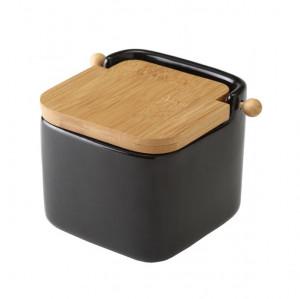 Recipient negru cu capac pentru sare din ceramica 750 ml Ellis Unimasa