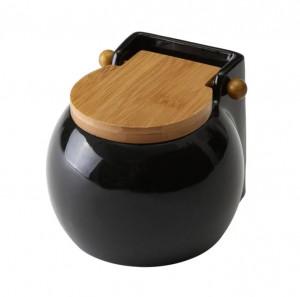 Recipient negru cu capac pentru sare din ceramica 700 ml Round Ellis Unimasa