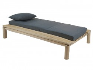 Pat gri din lemn de tec 110x200 cm Capri Santiago Pons