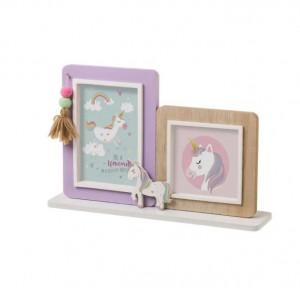 Rama foto multicolora din MDF si sticla pentru 2 fotografii 21x33 cm Unicorn Unimasa