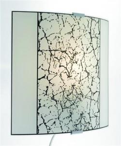 Aplica alba din sticla cu detalii metalice 26x26cm Jura Markslojd