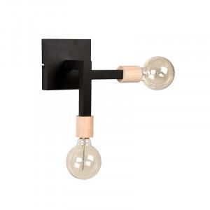 Aplica neagra/maro din metal si lemn cu 2 becuri Loco LABEL51