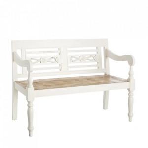 Banca alb din lemn mindi 118 cm Azelia Ixia