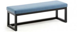 Bancheta albastra/neagra din lemn si textil 128 cm Yola La Forma