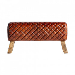 Bancheta maro din lemn si piele 90 cm Ottawa Vical Home