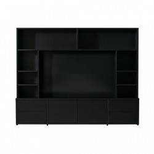 Biblioteca TV neagra din lemn de pin 171 cm Maxel Black Woood