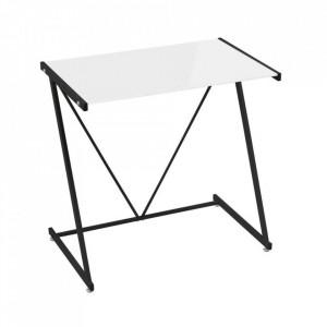 Birou alb/negru din sticla si metal 50x80 cm Cameron Unimasa