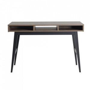 Birou maro stejar/negru din MDF si lemn 66x120 cm Trendy Quax