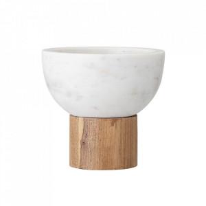 Bol alb/maro din marmura si lemn 14x14,5 cm Cam Bloomingville