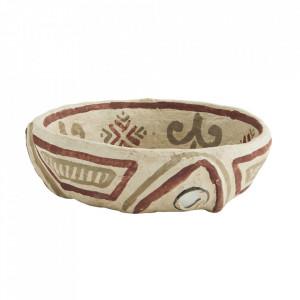 Bol decorativ crem din hartie 16 cm Tribal Madam Stoltz