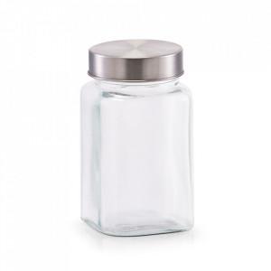 Borcan cu capac transparent/argintiu din sticla si inox 420 ml Sho Zeller
