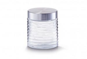 Borcan transparent/argintiu cu capac din sticla si inox 650 ml Grooved Jar Zeller