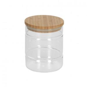 Borcan transparent din sticla si lemn de bambus 600 ml Catia Kave Home