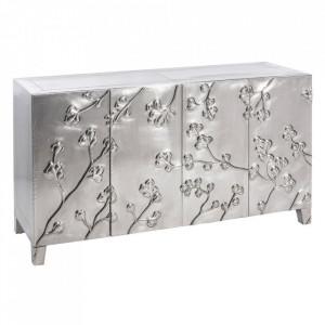 Bufet inferior argintiu din lemn si metal 160 cm Gliolis Denzzo