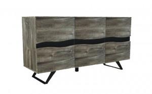 Bufet inferior gri/negru din lemn si metal 160 cm Genesis Sideboard Invicta Interior