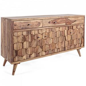 Bufet inferior maro din lemn de sheesham 132 cm Kant Bizzotto