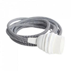 Cablu alb/negru cu soclu din textil si plastic E27 House Doctor