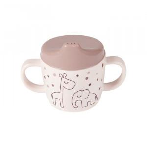 Cana cu capac pentru bebelusi din melamina 230 ml Dreamy Dots Pink Done by Deer