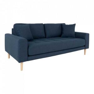 Canapea albastra din poliester si lemn pentru 2,5 persoane Lido House Nordic