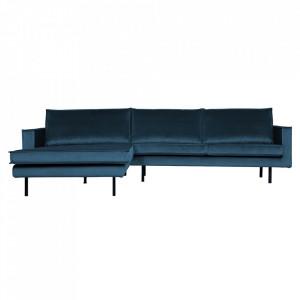 Canapea albastra din poliester si metal cu colt pentru 3 persoane Rodeo Left Be Pure Home