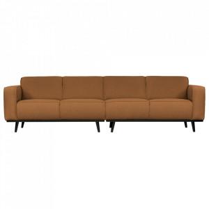 Canapea bej unt/neagra din poliester si lemn pentru 4 persoane Statement Boucle Be Pure Home