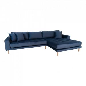 Canapea cu colt albastru inchis din catifea 290 cm Lido Right House Nordic