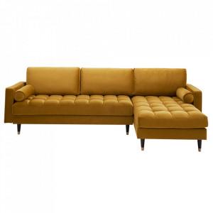 Canapea cu colt galben mustar din catifea si lemn 260 cm Cozy II Invicta Interior