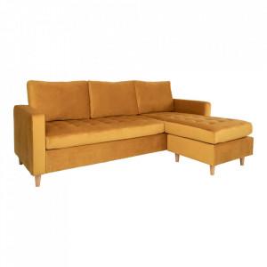 Canapea cu colt galben mustar din catifea si lemn de fag 219 cm Firenze Right House Nordic