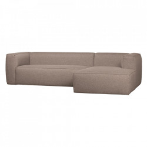 Canapea cu colt grej din poliester si bumbac 305 cm Bean Right Woood
