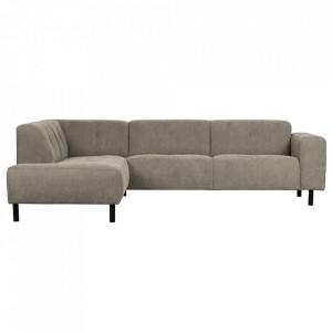 Canapea cu colt maro din poliester si lemn 275 cm Presley Left Woood