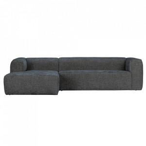 Canapea cu colt neagra din poliester si lemn 305 cm Bean Melange Left Woood