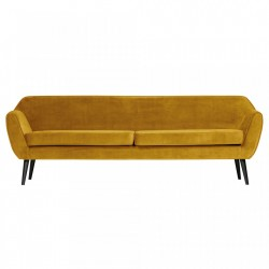 Canapea din catifea galbena Rocco XL Woood