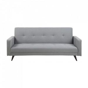Canapea extensibila gri deschis/neagra din lemn si poliester 217 cm Leconi Actona Company