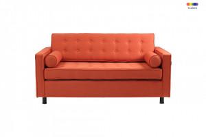 Canapea extensibila portocalie din poliester si lemn pentru 2 persoane Topic Custom Form