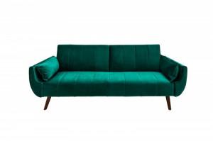 Canapea extensibila verde din catifea si lemn 215 cm Divani Invicta Interior