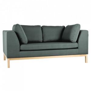 Canapea extensibila verde/maro din textil si lemn pentru 2 persoane Ambient Custom Form