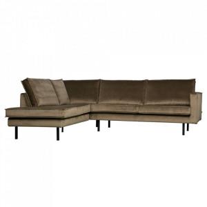 Canapea grej din catifea cu colt 266 cm Rodeo Left Be Pure Home