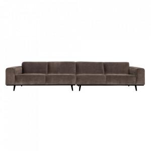 Canapea grej din poliester si lemn de mesteacan pentru 4 persoane Statement XL Be Pure Home