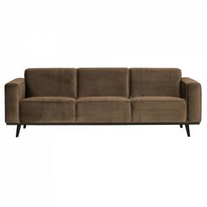 Canapea grej/neagra din catifea si lemn pentru 3 persoane Statement Be Pure Home