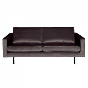 Canapea gri antracit din catifea pentru 2,5 persoane Rodeo Short Be Pure Home