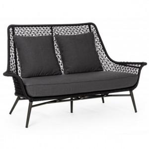 Canapea gri carbune din polipropilena si aluminiu pentru exterior 157 cm Cristobal Bizzotto