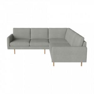 Canapea gri cu colt pentru 5 persoane din poliester si lemn Remix Light Bolia
