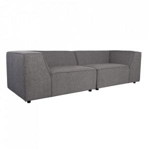 Canapea gri inchis din poliester si lemn de pin pentru 3,5 persoane King Dark Grey Zuiver