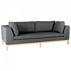 Canapea gri inchis/maro din textil si lemn pentru 3 persoane Ambient Custom Form
